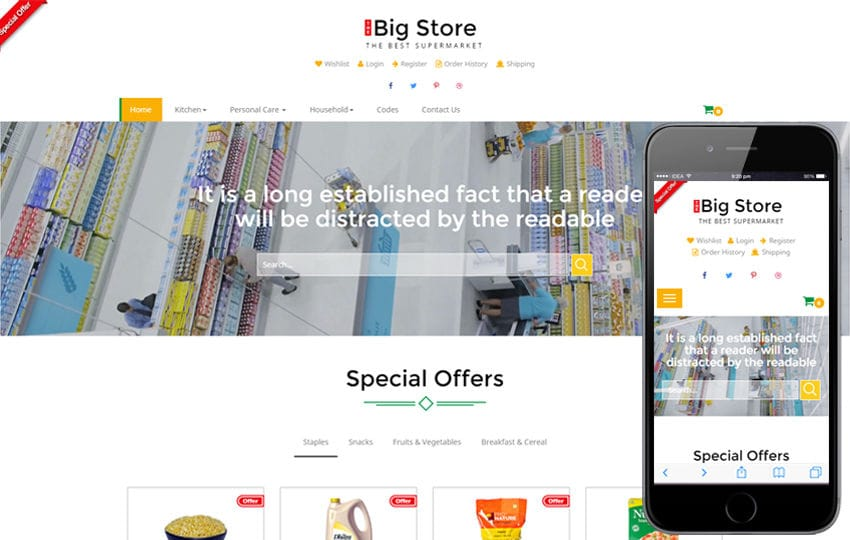 Big store an E-commerce Online Shopping Bootstrap Responsive Web