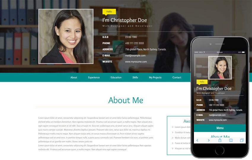 My Resume a Personal Category Flat Bootstrap Responsive Web Template - my personal resume