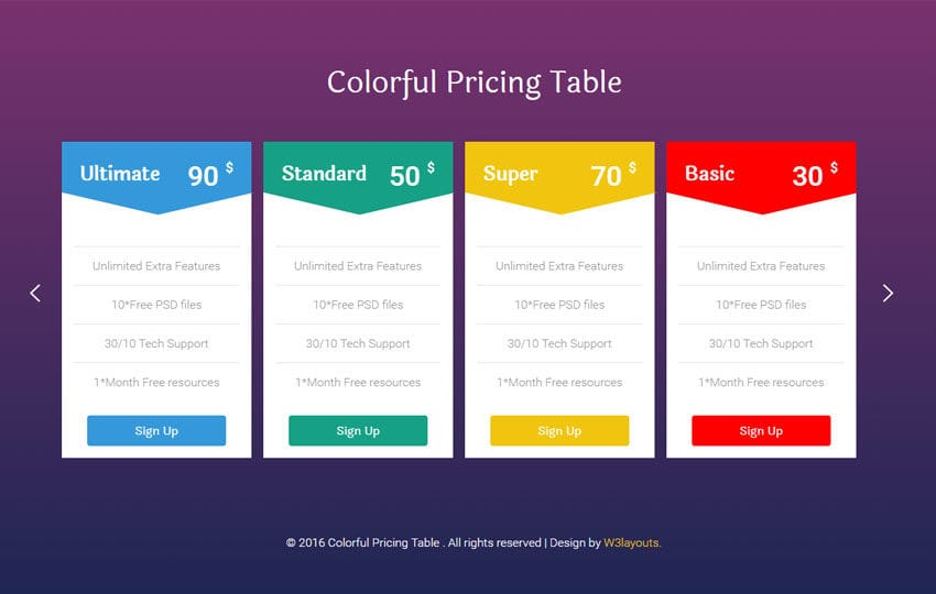 Colorful Pricing Table Flat Responsive Widget Template - template