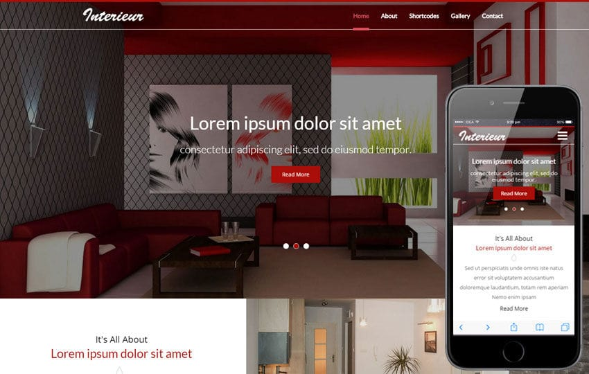 Interieur a Interior Category Flat Bootstrap Responsive Web Template - interior design web template
