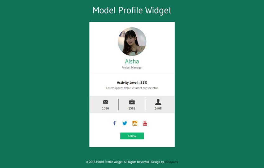 Model Profile Widget Flat Responsive Widget Template - free profile templates