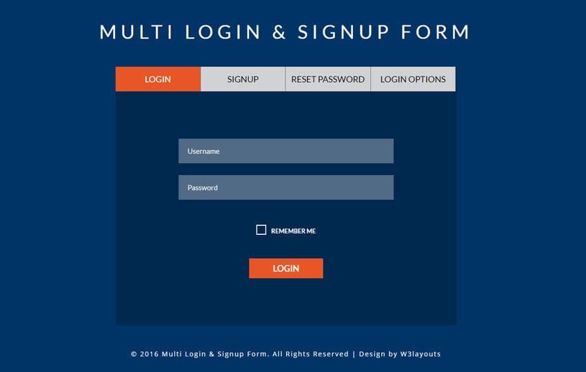 Multi Login  Signup Form A Flat Responsive Widget Template