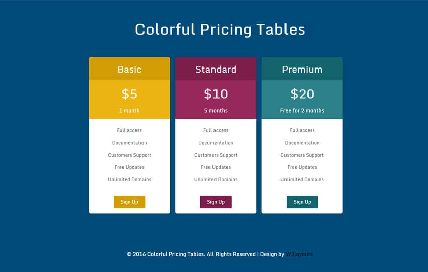 Pricing Table - w3layouts - restaurant table layout templates