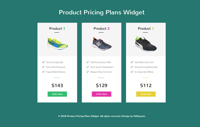 Product Pricing Plans Widget Flat Responsive Widget Template