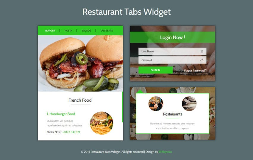 Food - w3layouts - restaurant table layout templates