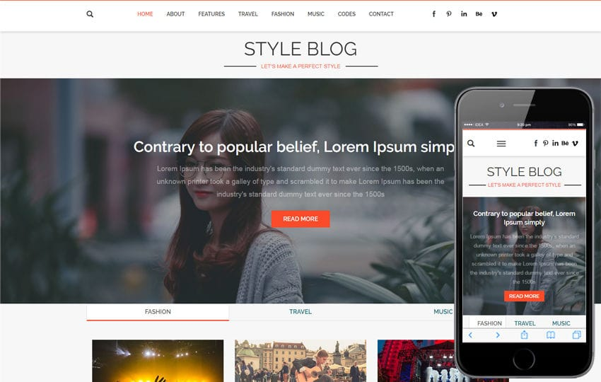 Blog Mobile website Templates - fashion blogger templates