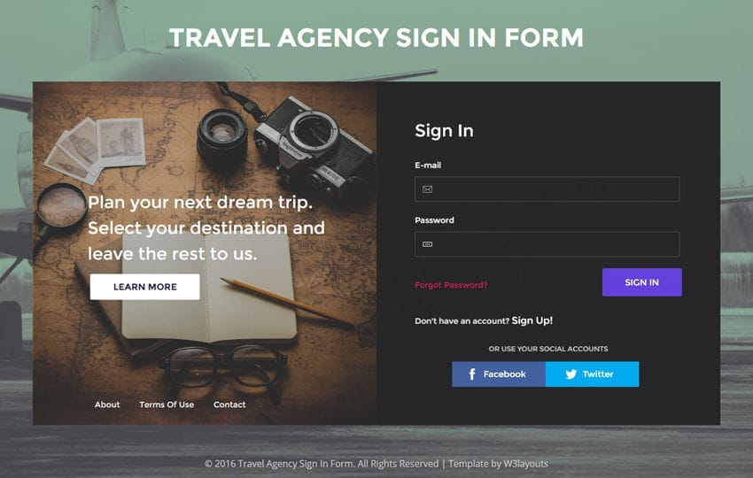 Travel Agency Sign In Form A Flat Responsive Widget Template - travel agent form
