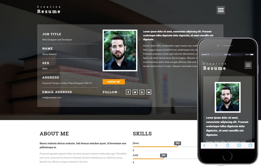 Creative Resume a Personal Category Bootstrap responsive Web Template - bootstrap resume template