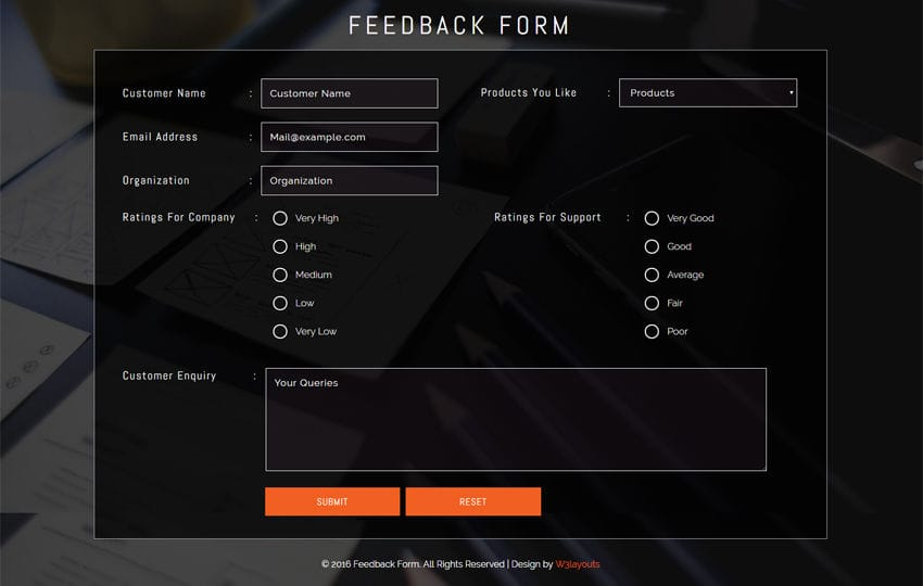 Feedback Form Widget Responsive widget Template