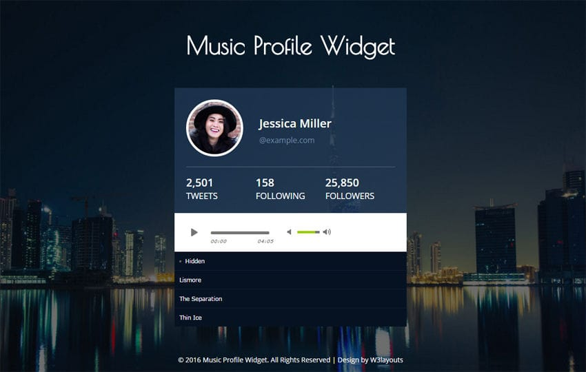 Music Profile Widget Responsive Widget Template - free profile templates