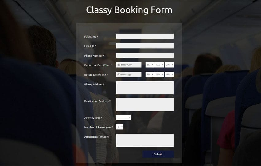Classy Booking Form Responsive Widget Template - free reservation forms