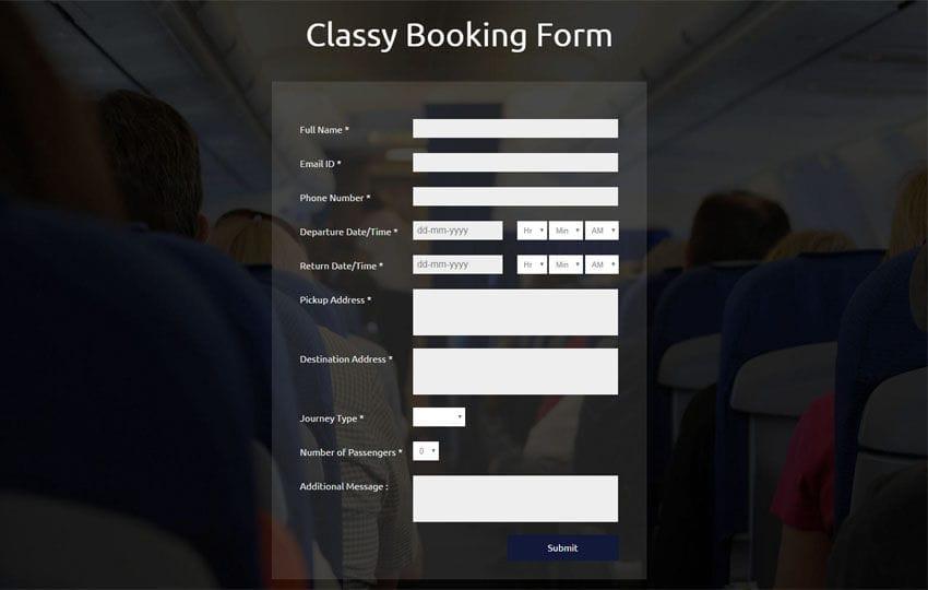 Classy Booking Form Responsive Widget Template