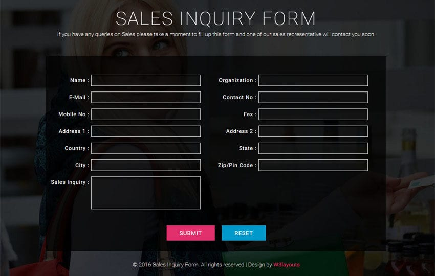 Registration Form - w3layouts - application form template free