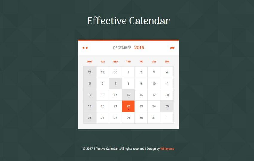 Effective Calendar Flat Responsive Widget Template - calendar template for website