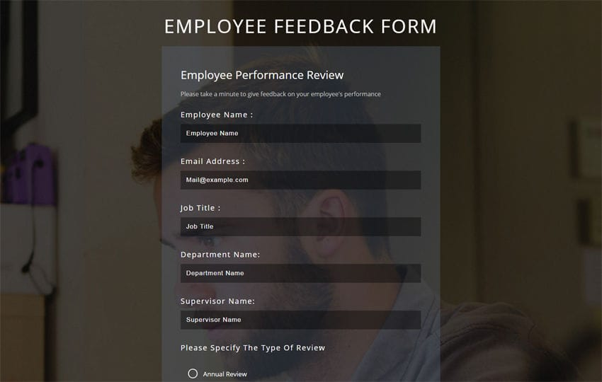 Employee Feedback Form a Flat Responsive Widget Template
