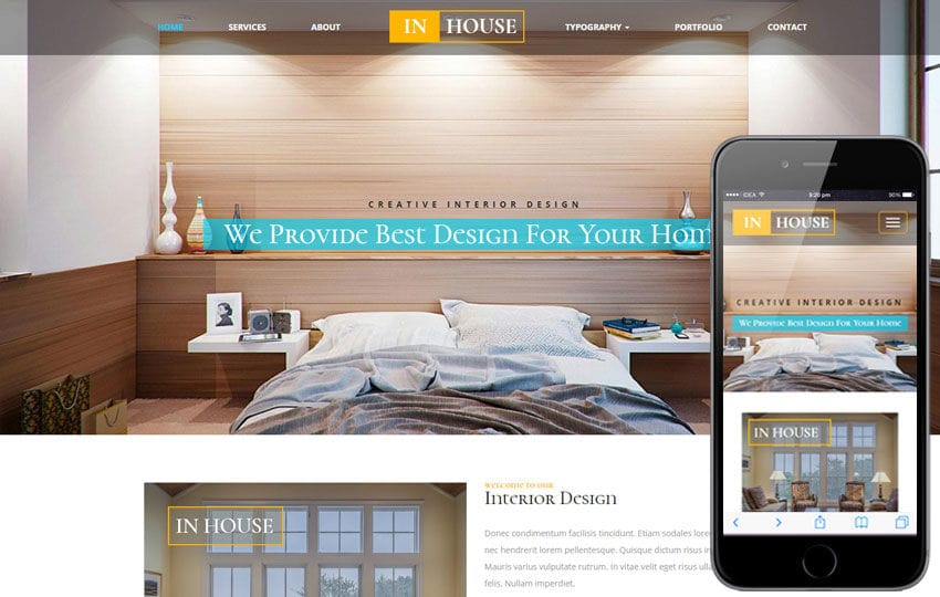 In House an Interior and Furniture Responsive Web Template - interior design web template