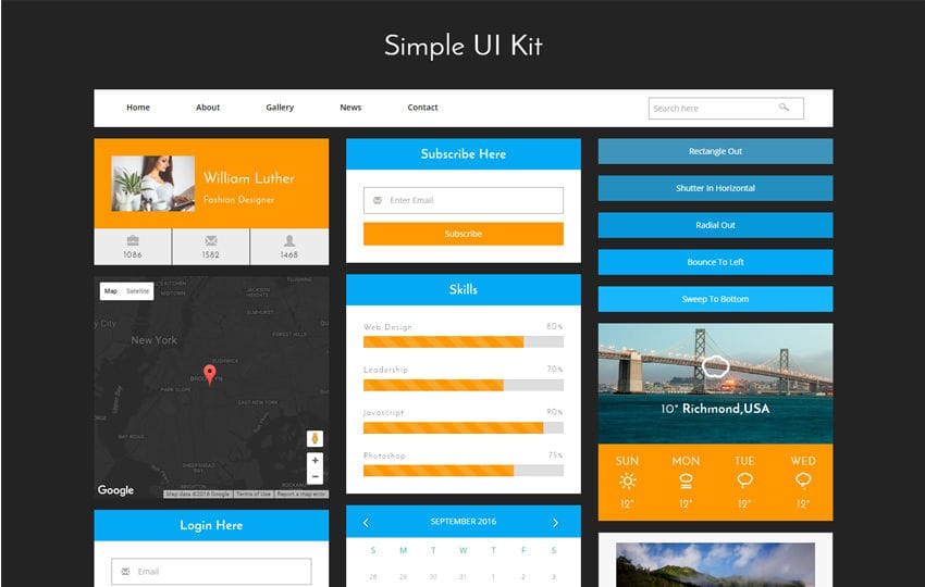 Simple UI Kit a Flat Bootstrap Responsive Web Template - simple website templates
