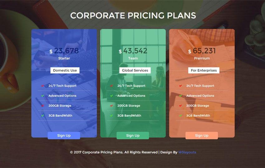 Corporate Pricing Plans Flat Responsive Widget Template
