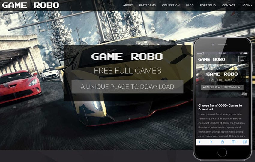 Game Robo a Games Category Bootstrap Responsive Web Template - video game template