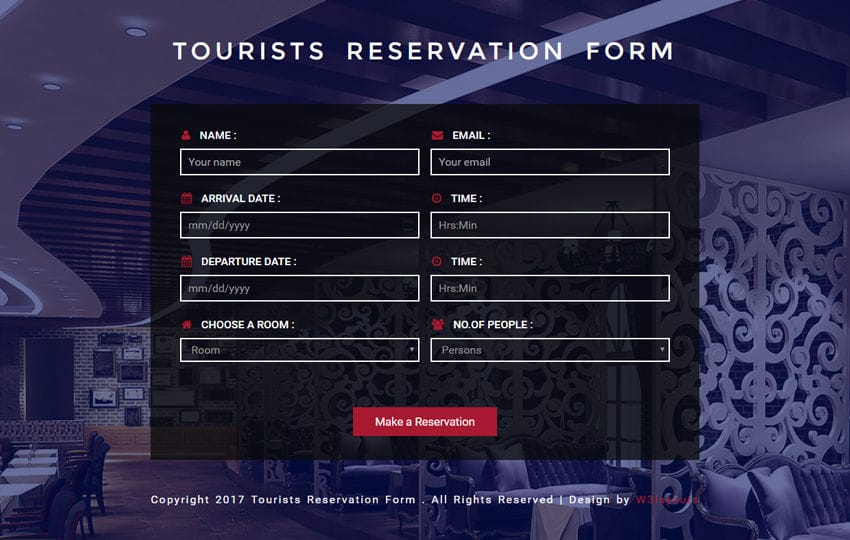 Tourists Reservation Form Responsive Widget Template - free reservation forms