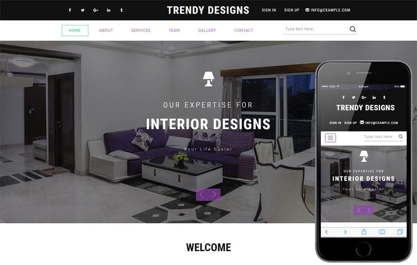 Trendy Designs an Interior Category Bootstrap Responsive Web Template - interior design web template