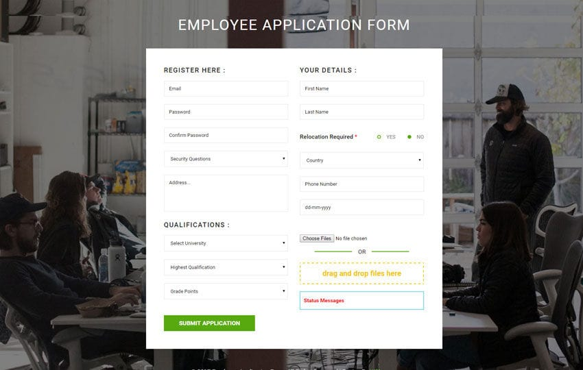 Employee Application Form Flat Responsive Widget Template - Employee Application