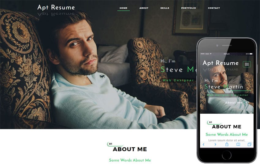 Apt Resume a Personal Category Bootstrap Responsive Web Template - personal website resume