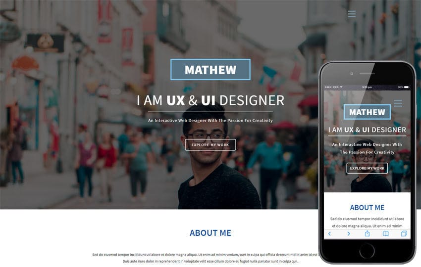 Designer a Personal Category Bootstrap Responsive Web Template - interactive website template