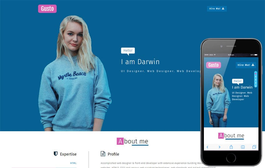Personal website Mobile Templates designs Free