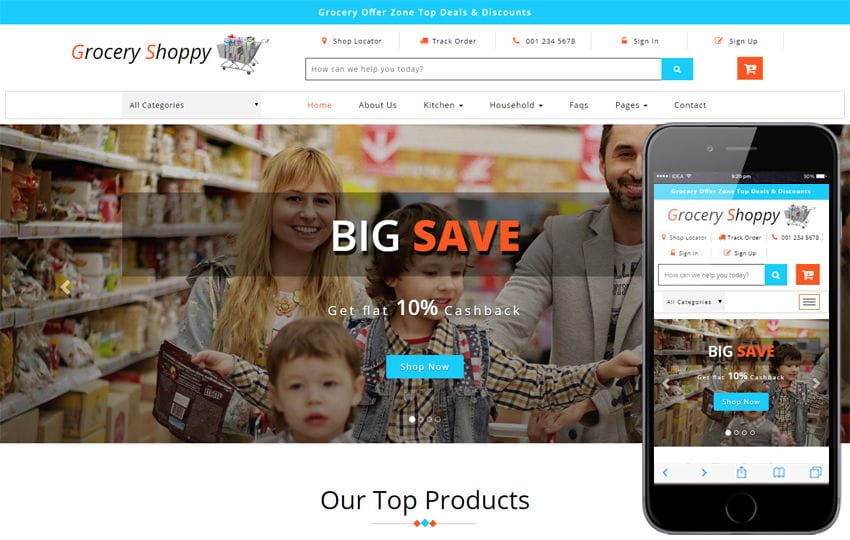 Grocery Shoppy Ecommerce Bootstrap Responsive Web Template - grocery shopping template