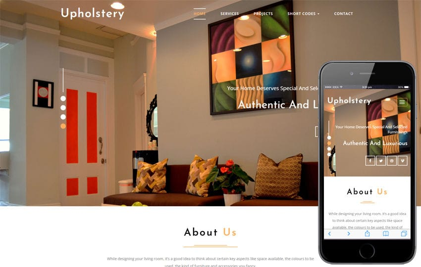 Upholstery Interior Category Bootstrap Responsive Web Template