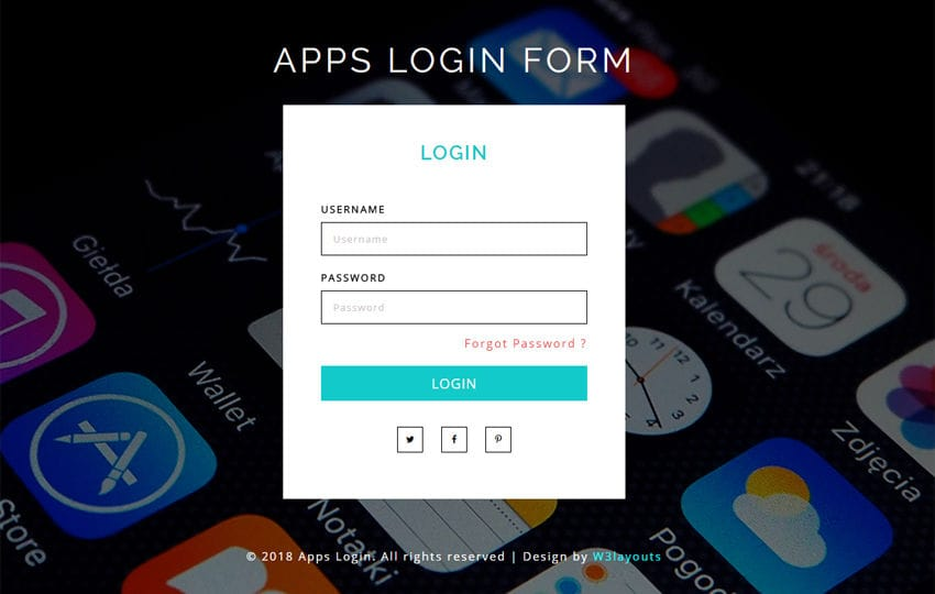 Apps Login Form Flat Responsive Widget Template - wallet designs templates