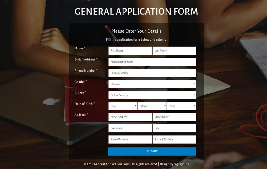 General Application Form Flat Responsive Widget Template - general application form