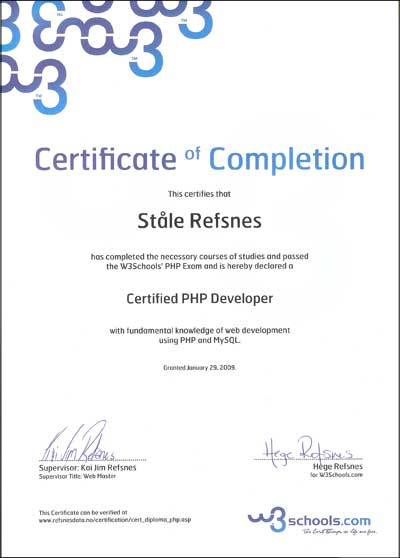 PHP Certification - certification examples