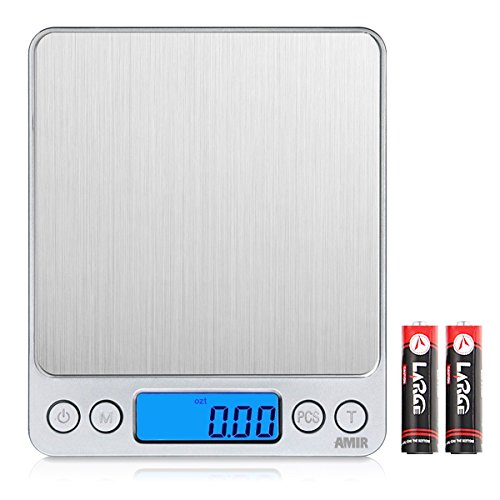 Digitalwaage Küchenwaage Amir Digitale Küchenwaage, 3kg X 0,1g Digitalwaage Waage