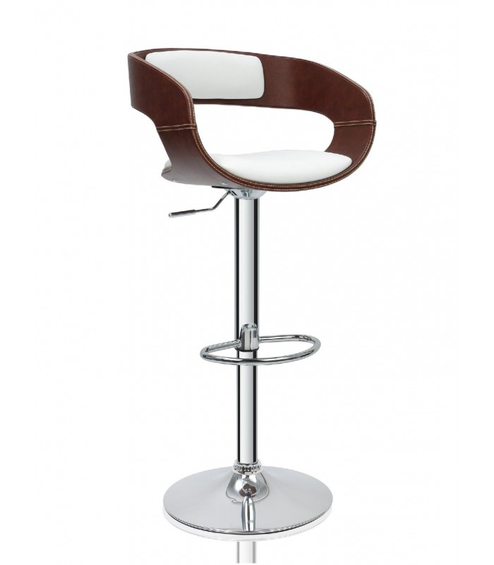 Tabouret De Bar Design En Similicuir Marron Et Blanc - Tabourets De Bar Cuisine Design Louisiane