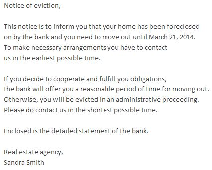 Beware of Malicious Fake Eviction Notice Email - eviction notice