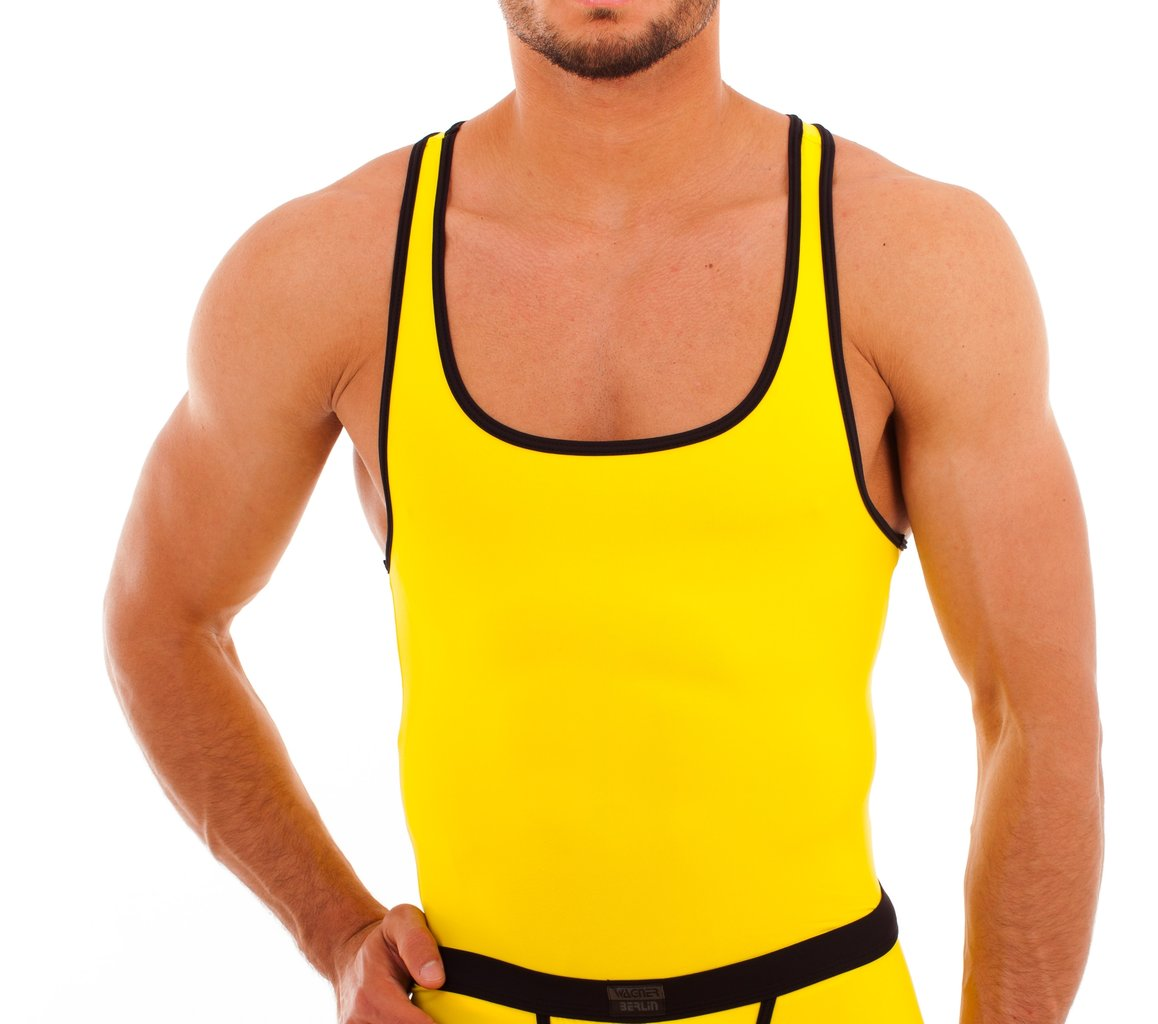 Muscle Shirt Micro Basic Muscle Shirt Yellow Black