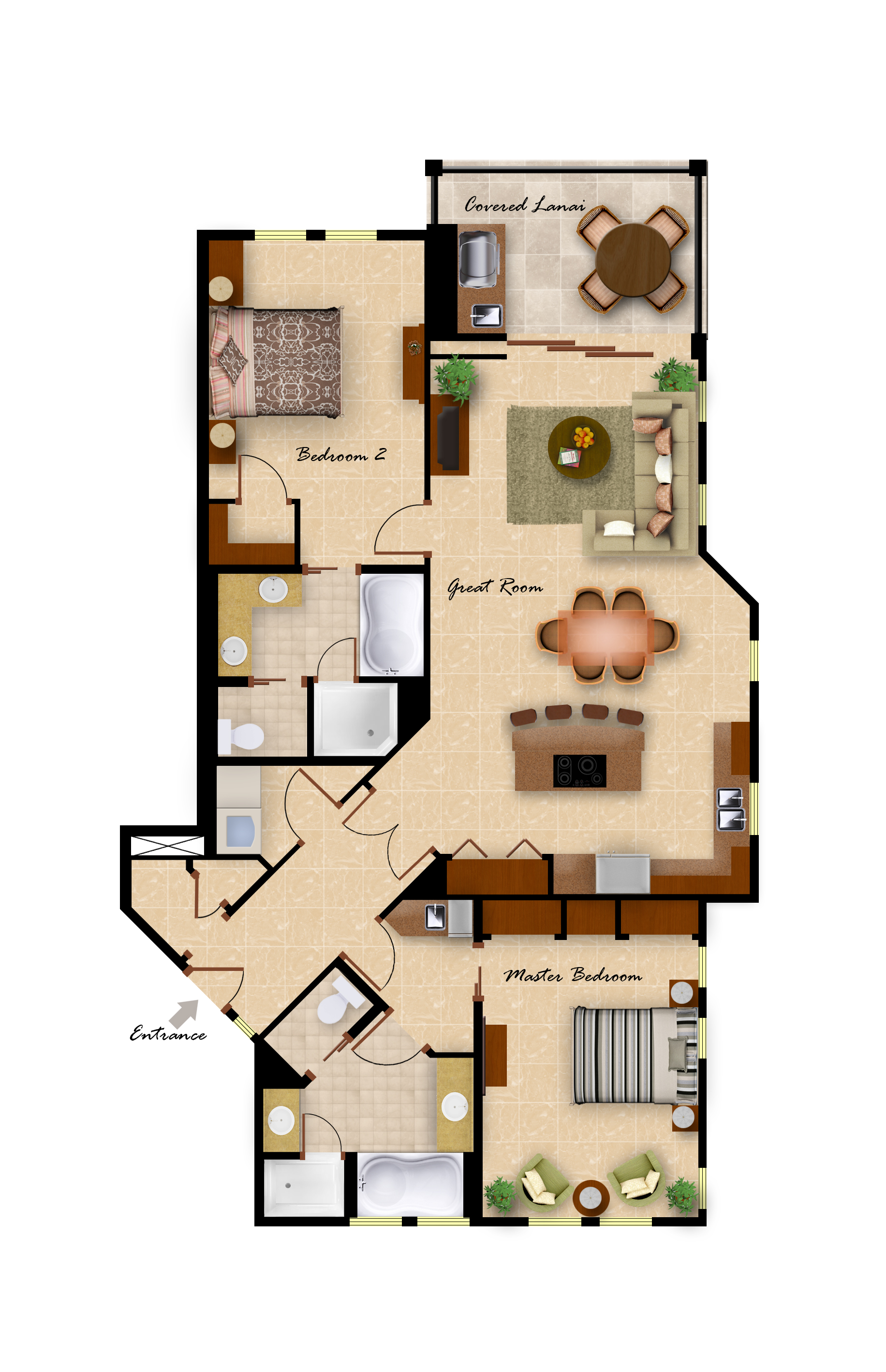 Bedroom Floor Layout Kolea Vacation Rentals
