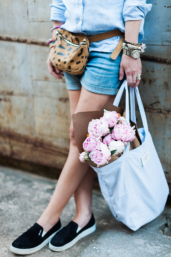 Leopard fanny pack and pink peonies