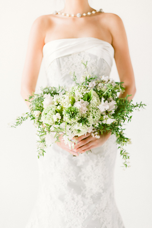 Blue bridal gowns and gorgeous bouquet