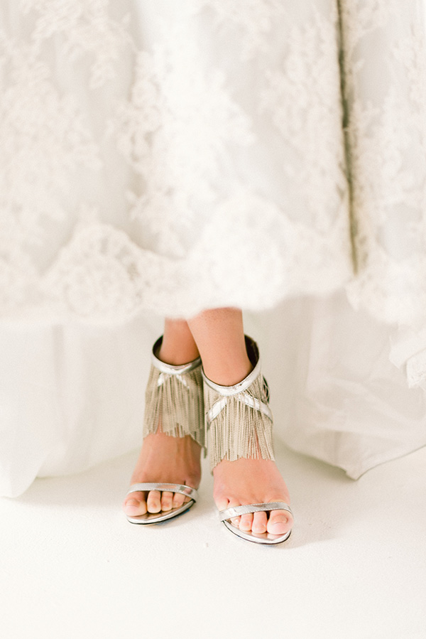 Blue bridal gowns and silver shoes
