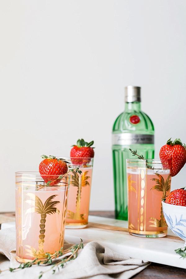Rhubarb Strawberry Gin Fizz cocktail recipe via Waiting on Martha