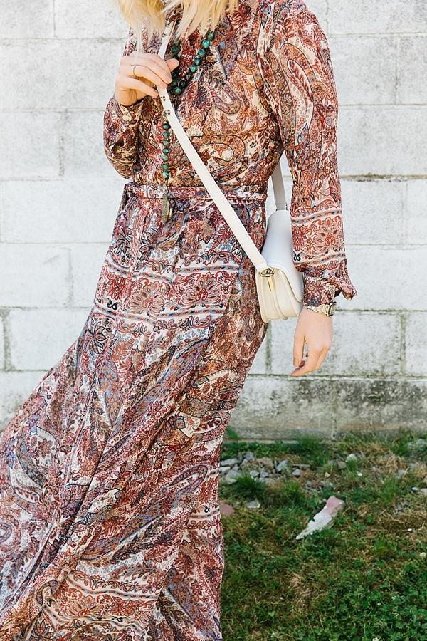 Paisley maxi dress with white purse, Waiting on Martha