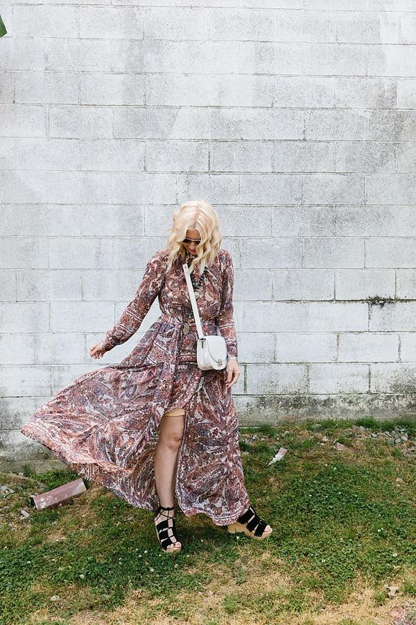 Paisley maxi dress with black platform wedges, Waiting on Martha