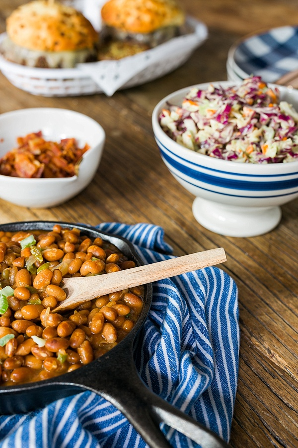 Skillet baked beans and homemade coleslaw recipe