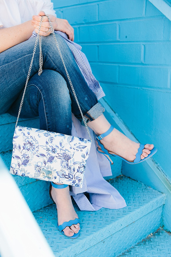 Loeffler Randall blue and white floral envelope clutch, Waiting on Martha