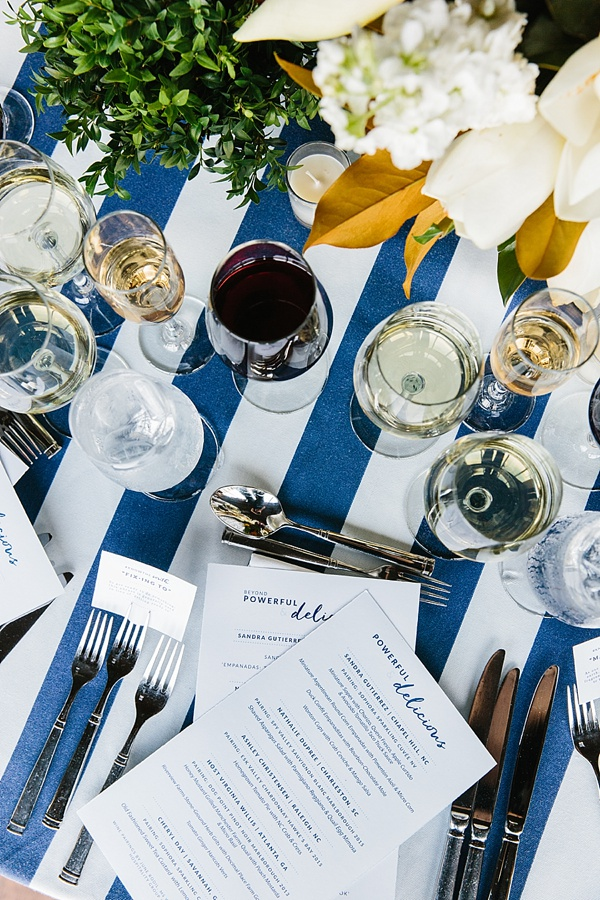 Entertaining with navy stripe tablecloths and magnolias, Waiting on Martha