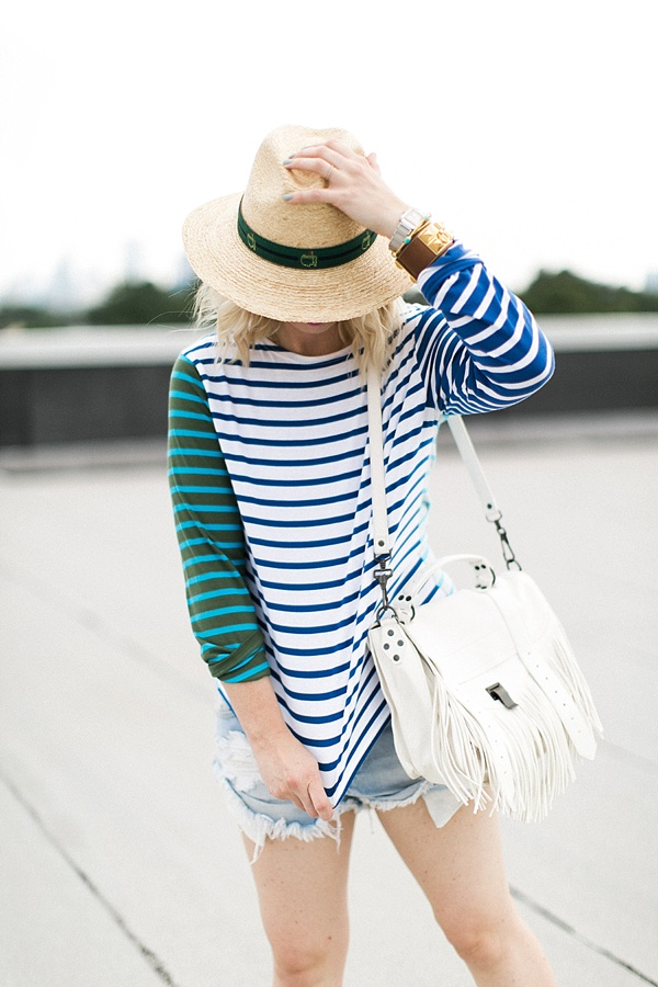 JCrew blue stripe top with white fringe bag and hat