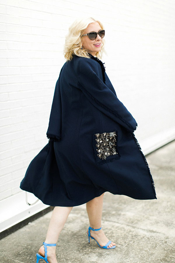 Navy overcoat with fringe details and jeweled pockets from Hampden Clothing, @waitingonmartha